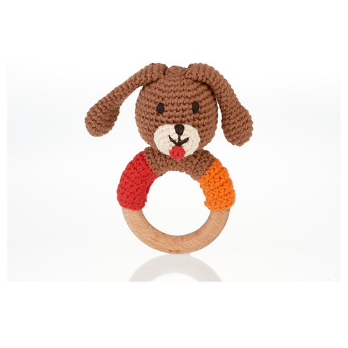 Dog Wooden Ring Rattle by Pebble Child