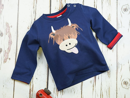 Highland Cow Blade and Rose Baby Top