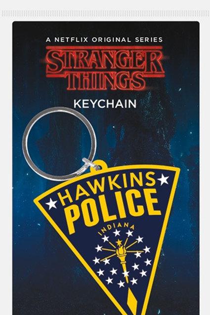Stranger Things Hawkins Police Rubber Keyring