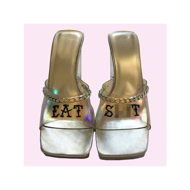 Embroidered Lucite Heel Mules
