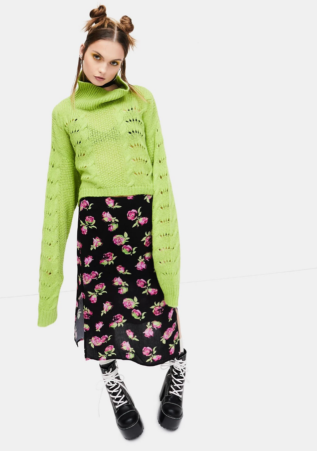 Lost In Yesterday Floral Midi Skirt.png