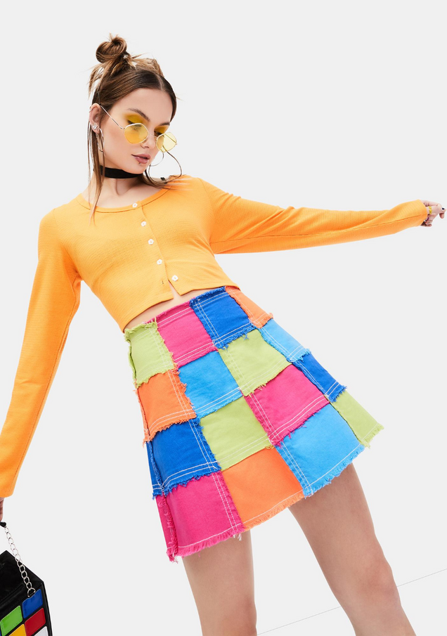 Colorful Life Patched Skirt