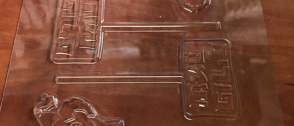 תבנית ליציקת שוקולד -ליצנים + שלט פורים - דק
