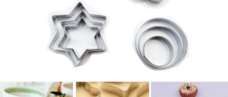 סט 12 יחידות - חותכני פרח, לב, עיגול, מגן דוד