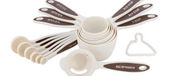 כוסות וכפיות מדידה + מפריד ביצים - פלסטיק