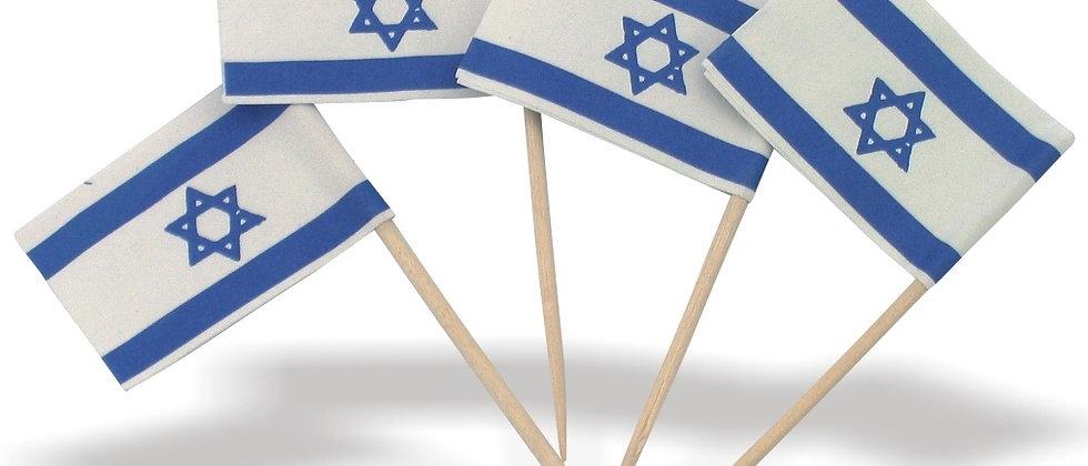 דגל ישראל על קיסם - 100 יחידות