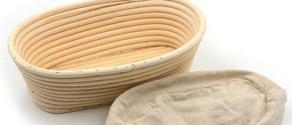 """סלסלת התפחה אובלית ללחם 30 ס""""מ + בד"""