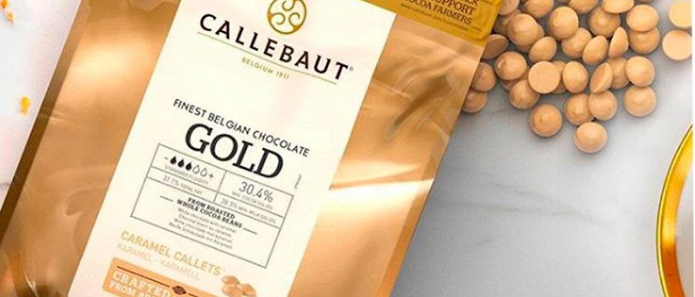 """שוקולד גולד לבן קרמל 30.4%  0.5 ק""""ג  Callebaut"""