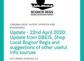 BR BID Coronavirus Update: Wednesday 22nd April 2020: Latest Updates from DBEI, Shoplocal BR