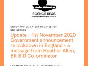 BR BID Update: 1st November 2020 Government Announcement re Lockdown:
