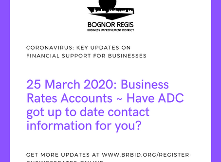 Business Rates Accounts:  Have Arun District Council got up to date contact information for you?
