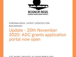 BR BID Update: 20th November 2020 ADC grant application portal now live.
