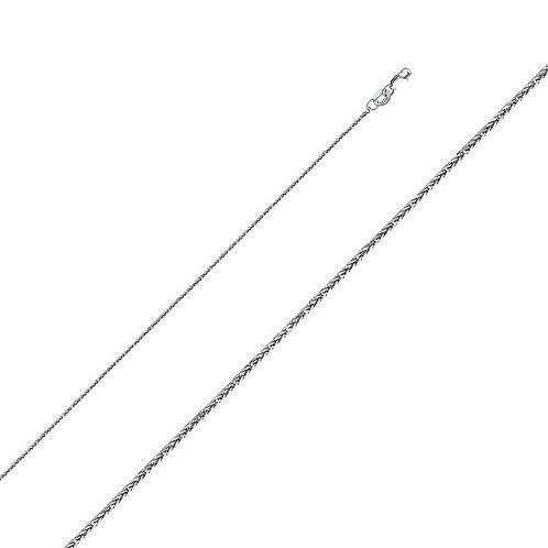 14k White Gold 0.8-mm Square Wheat Chain Necklace