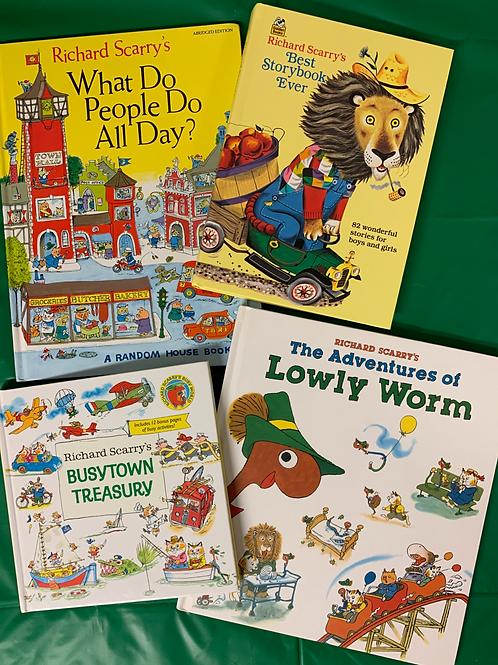 Preschooler Richard Scarry Book Stack