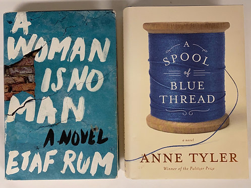 """A Woman is No Man"" Fiction Book Stack"