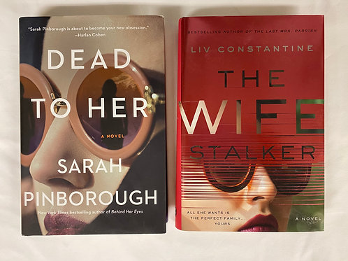 """Dead to Her"" Mystery Book Stack"