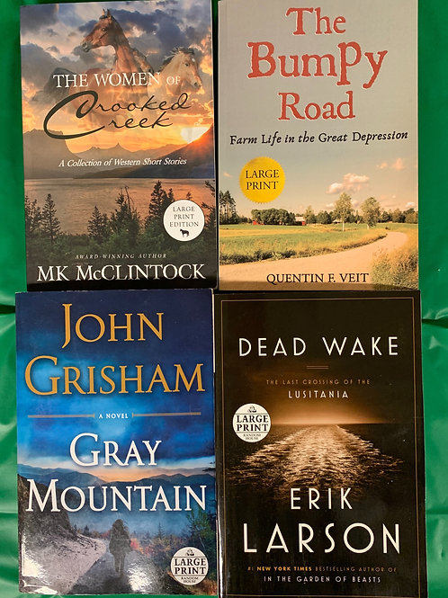 """""""Dead Wake"""" Large Print Book Stack"""