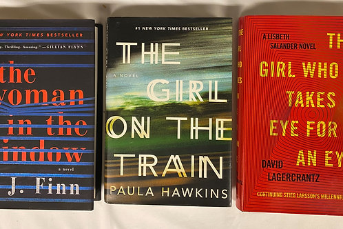 """""""Woman in the Window"""" Mystery Book Stack"""