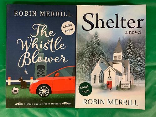 """Shelter"" Large Print Book Stack"