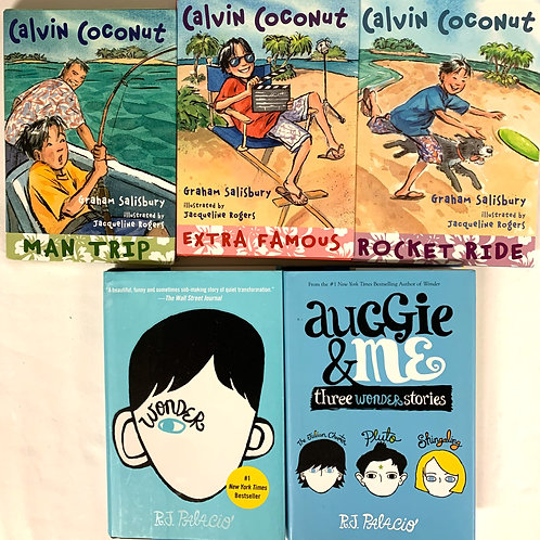"Grades 2 - 3 ""Calvin Coconut"" + ""Wonder"" Book Stack"