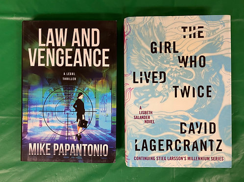 """Law and Vengeance"" Mystery Book Stack"