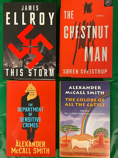 """""""The Chestnut Man"""" Fiction Book Stack"""