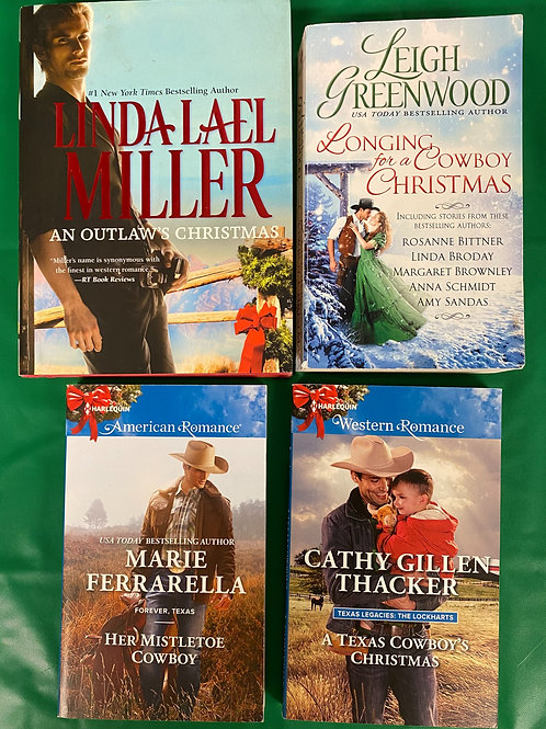 """Cowboy Christmas"" Romance Book Stack"