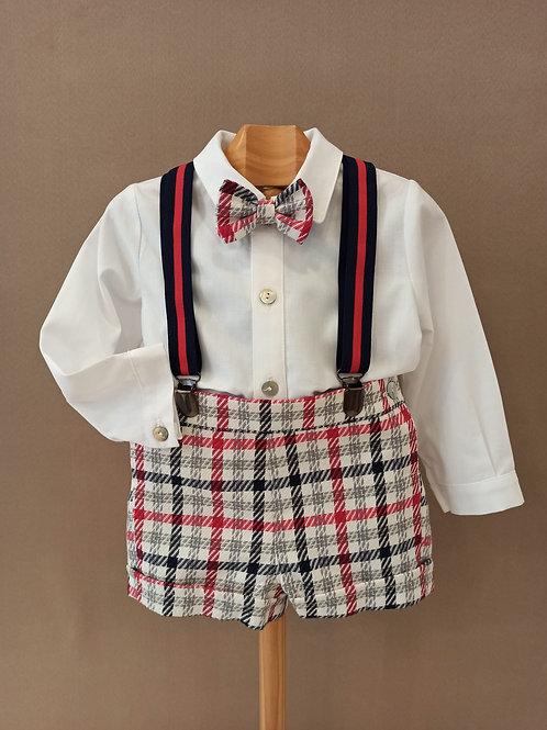 Conjunto de camisa y pantalón corto en cuadros rojo-marino