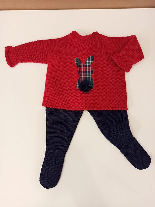 Conjunto de dos piezas en punto lana merino rojo-marino