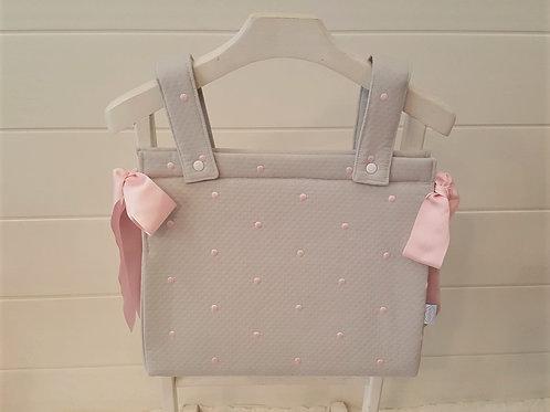 Bolso de carro de bebé Santorini Gris con Rosa