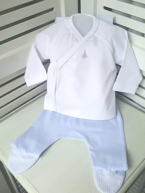 Conjunto de Algodón Camiseta y Polaina Celeste