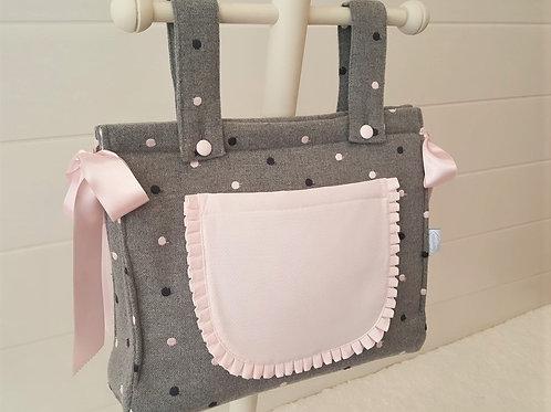 Bolso de carro de bebé Guindas Gris con Rosa