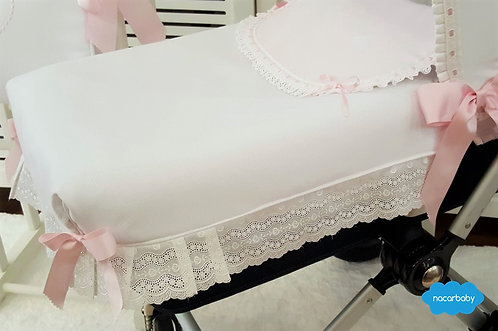 Colcha Ajustable de Capazo Corazón Rosa