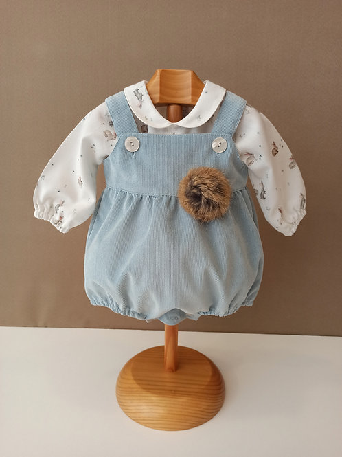 Ranita de pana en color celeste con blusa de conejitos