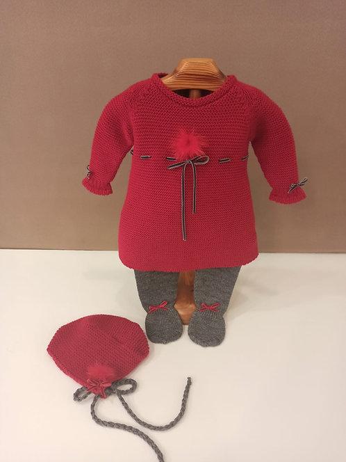 Vestido de punto rojo con marengo lana merino