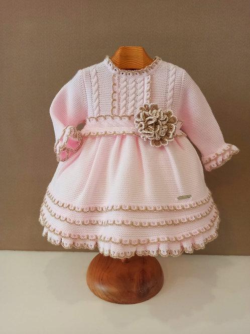 Vestido de punto rosa con tostado con braguita incluida