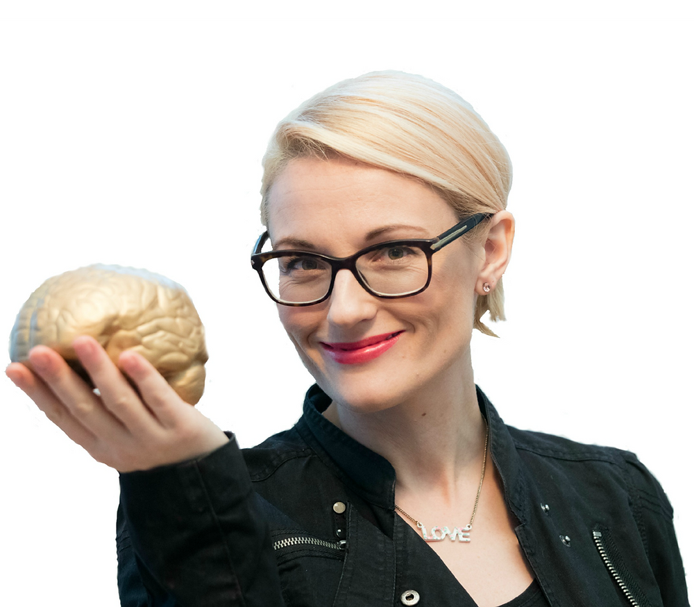 Nia Dunbar holding a sunshine brain
