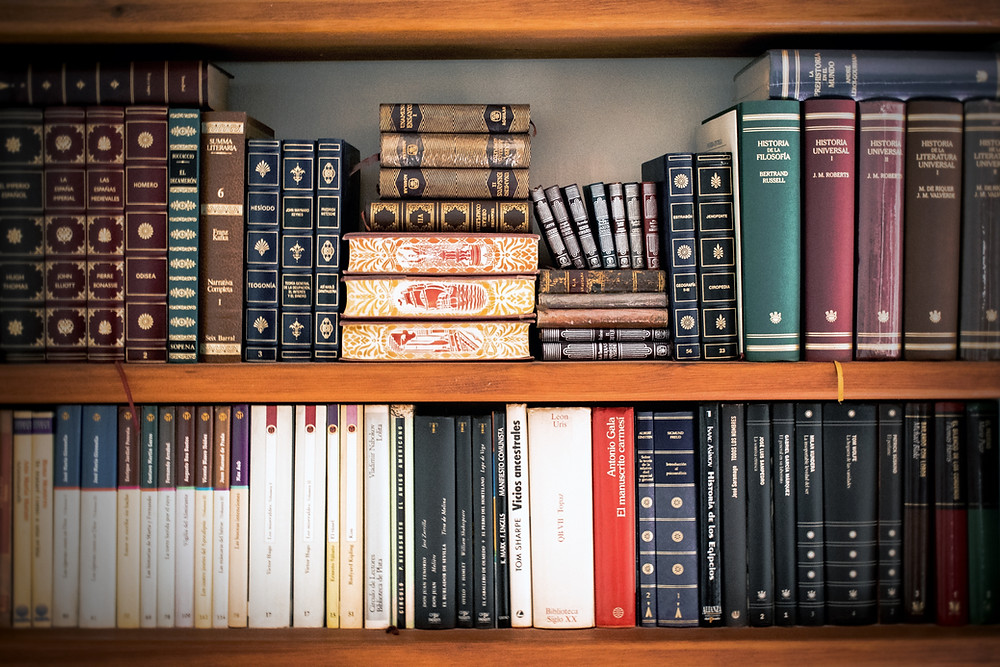 Law books on shelves