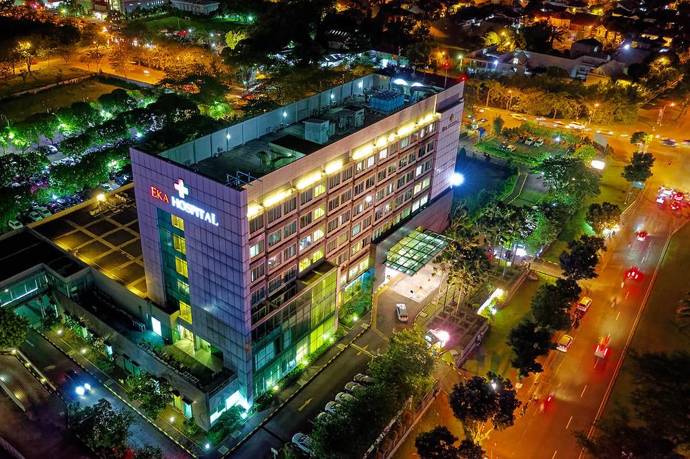 Arial picture of a hospital at night