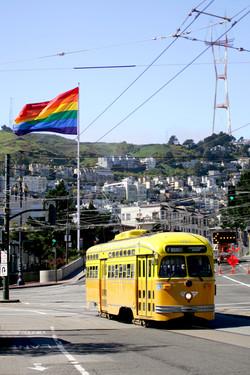 San Francisco tram with pride flag