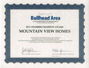 Mountin View Homes Chaber Award 2017