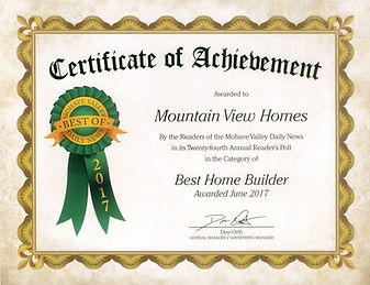 Voted Best Home Builder Mountain View Homes