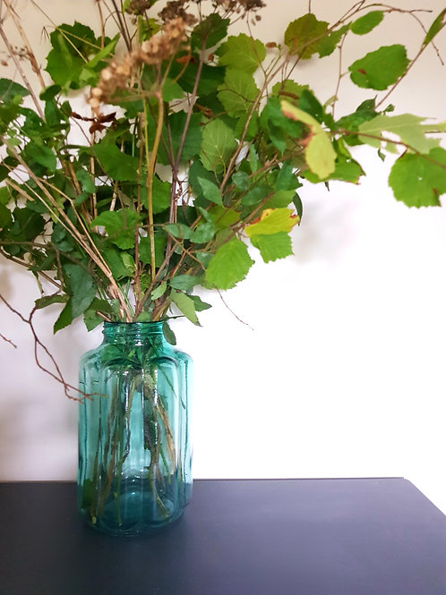 Old Coloured Glass Jar Vase