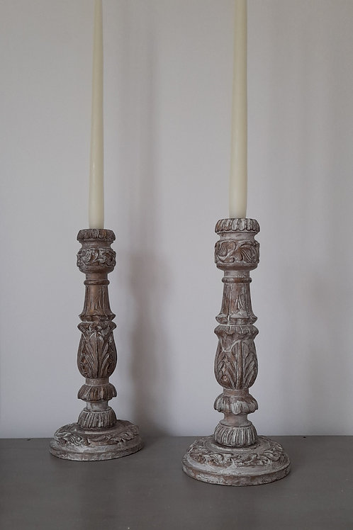 Pair of Wooden Candle Sticks