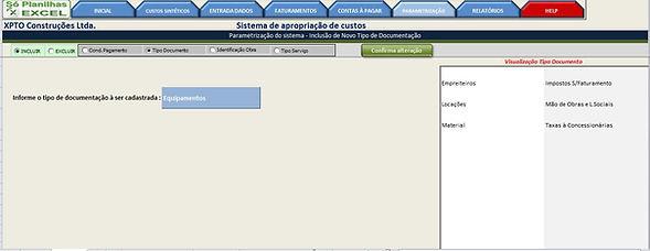 Controle de Custos - Cadastro Tipo Documento