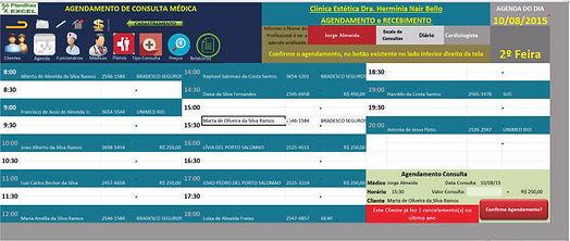 Só Planilha Excel / Agendamento Consultório / Agendamento de consulta médica