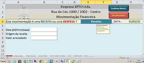Só Planilha Excel / Movimentação Financeira / Cadastramento de Receita e Despesa