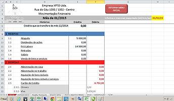 Só Planilha Excel / Movimentação Financeira / Planilha sintética de movimento mensal
