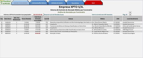 Só Planilhas Excel - Controle de Atestados - Análise Funcionário