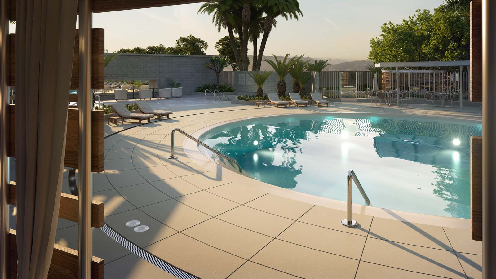 Circa Los Angeles outdoor swimming pool with cabana